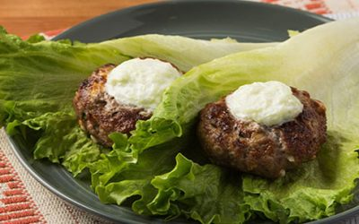 Broiled Greek Burger with Lettuce Wraps