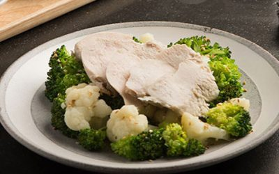 Chicken, Broccoli, and Cauliflower with Soy and Wasabi Dip