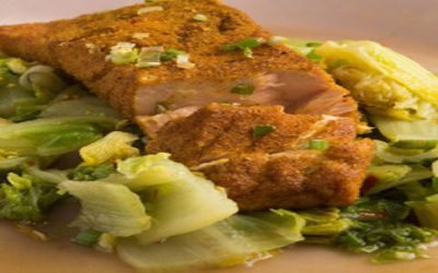 Curry Crusted Salmon with Chili Braised Napa Cabbage