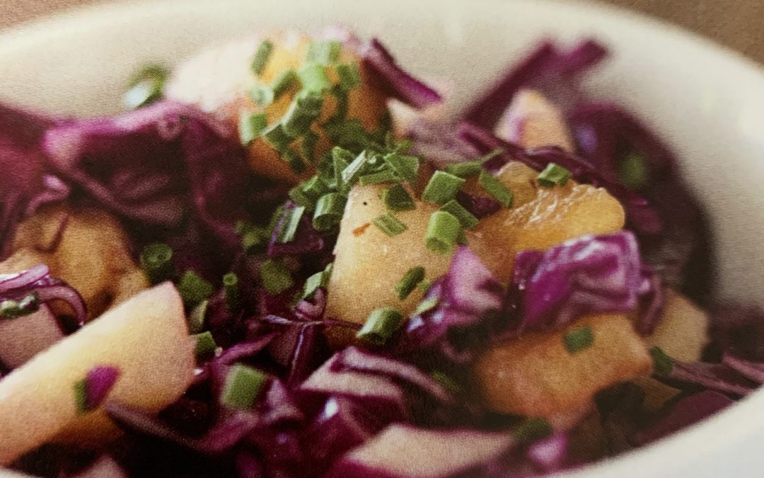 Savory Salad with Red Cabbage and Pineapple
